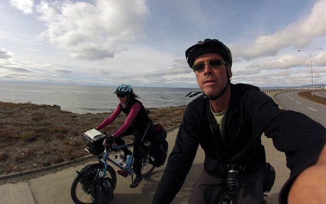 Riding out of Punta Arenas, ready for the next leg.