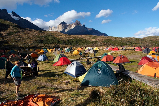 The camp site at Paine Grande: tents like M&Ms scattered in the field.
