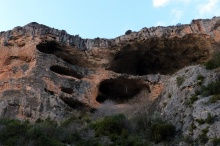 Caves in the karst of Alquezar canyon.