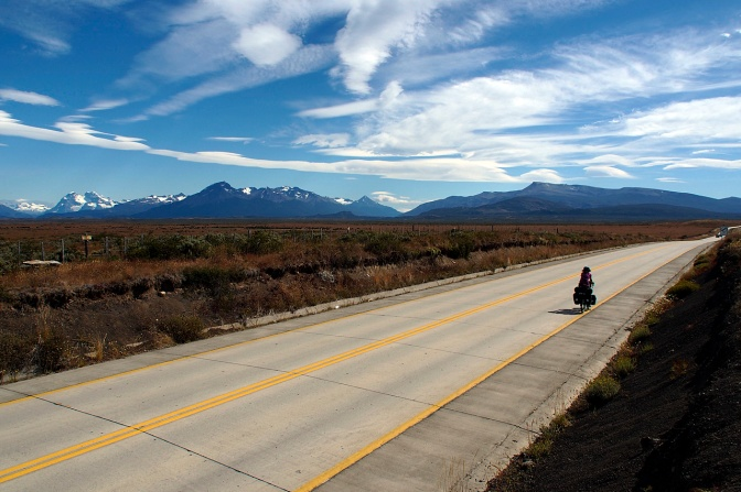 Jan riding north from Puerto Natales.