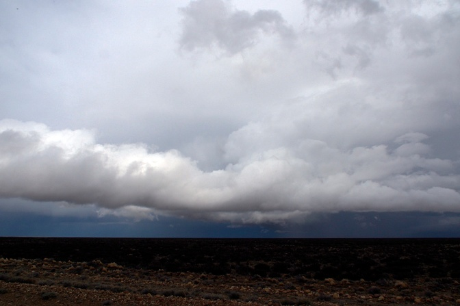Thunderstorms over the pampas on Ruta 40 north of Tapi Aike.