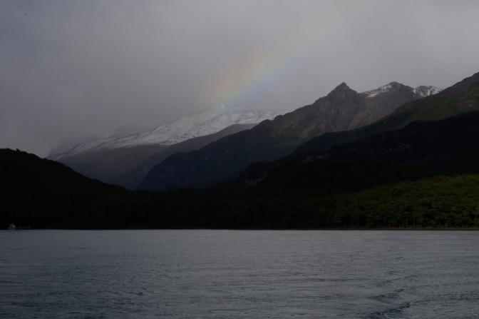 A bright spot of rainbow in the gloom above Lago del Desierto.