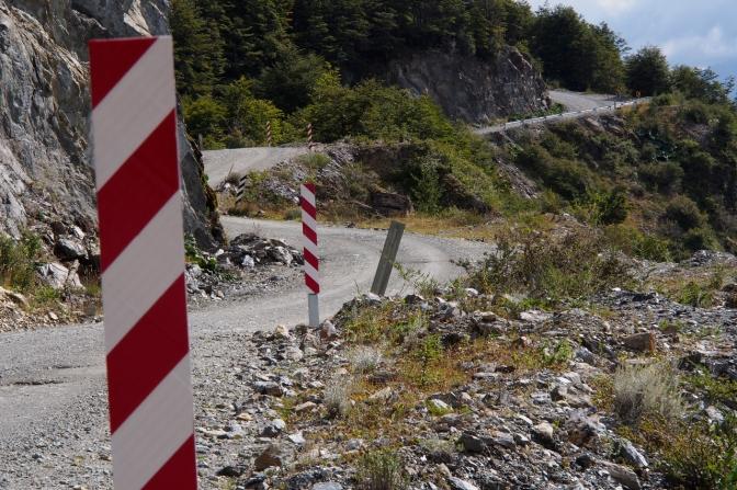 The road gradually climbing.