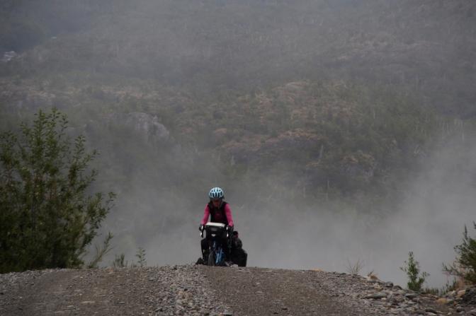 Jan gaining Cerro Tres Puntas Pass.