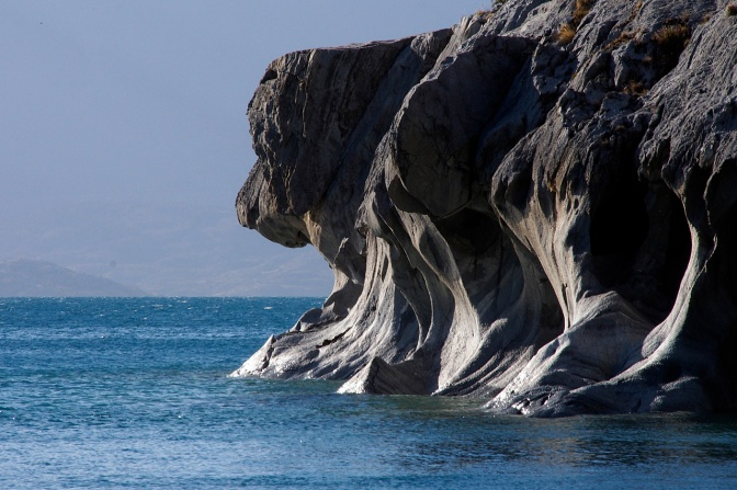 Dog's head rock near the marble caves on Lago General Carrera.