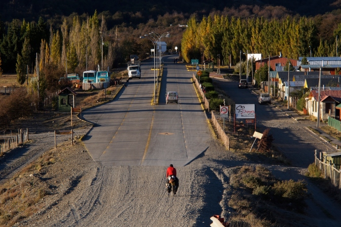The end of gravel: Brian rides into Villa Cerro Castillo.