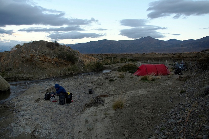 Our dusty creekside camp 35 KM from El Chaltén.