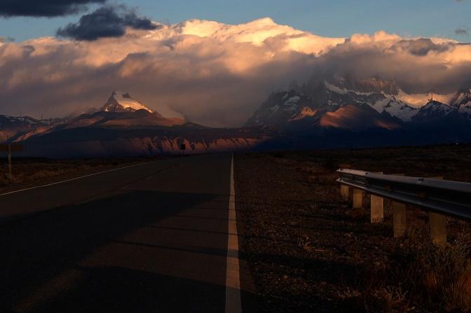 Sunrise over Cerro Torre, left, and Fitzroy.