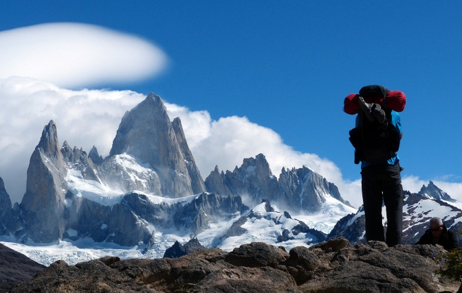Admiring the view of Fitzroy in Los Glaciares National Park.