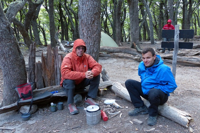 Paul and Arthur, a fellow traveller from France, in Poincenot camp.