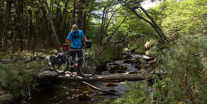 Paul taking an adventurous approach to creek crossing.