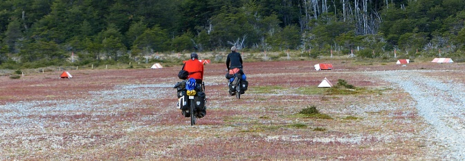 Riding the airstrip on the way down to Lago O'Higgins.
