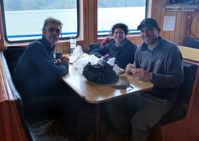 Having lunch on the ferry to Puerto Yungay.