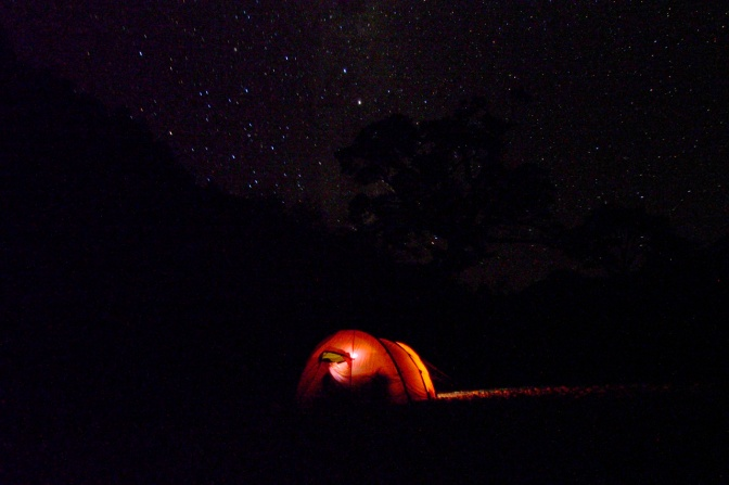 The tent under a starry sky along Rio Cisnes north of Villa Amengual.