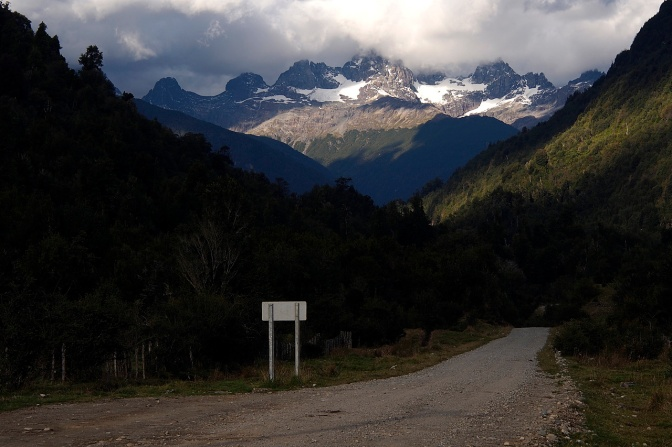 A side road off the Carretera Austral with a view of Cerro Barros Arena. We camped just off the road here.