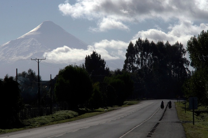 Riding north from Puerto Varas toward Osorno Volcano.