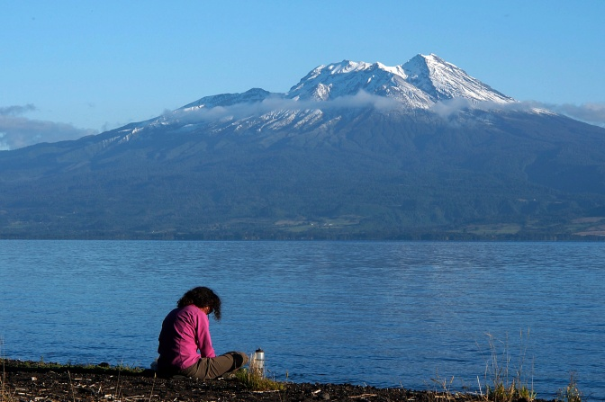 Jan at Lago Llanquihue campsite.