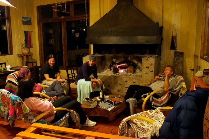 An evening in the lodge with Christian, Noel and Peter at the campsite in Vicente Perez Rosales National Park.