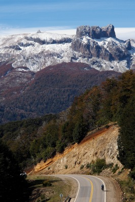 Frank descending a slope along the 7 Lakes Route to San Martin De Los Andes.