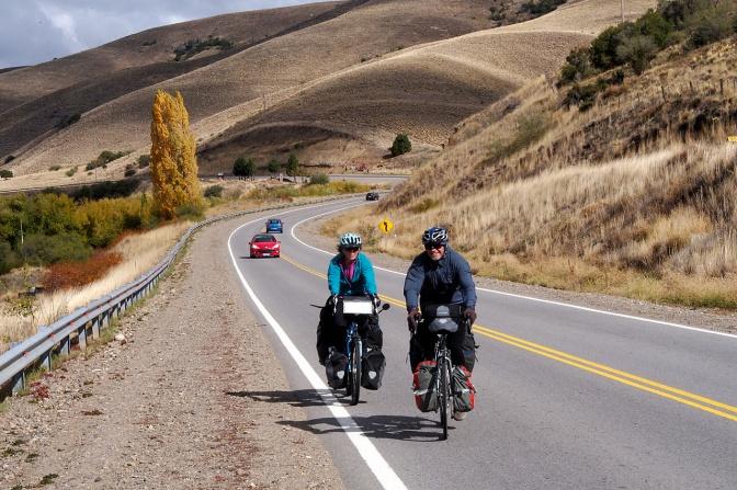 Jan and Frank riding into Junin De Los Andes.