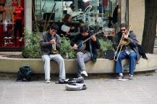Street musicians on Sarmiento pedestrian mall in Mendoza.
