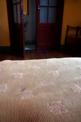 Our Maple Leaf bed spread in Quinta Rufino B&B in Mendoza.