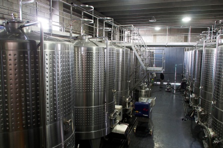 The fermentation tanks at Bodega Tempus Alba.