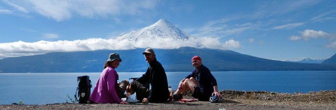 Lunch along Lago Llanquihue looking at Osorno Volcano.