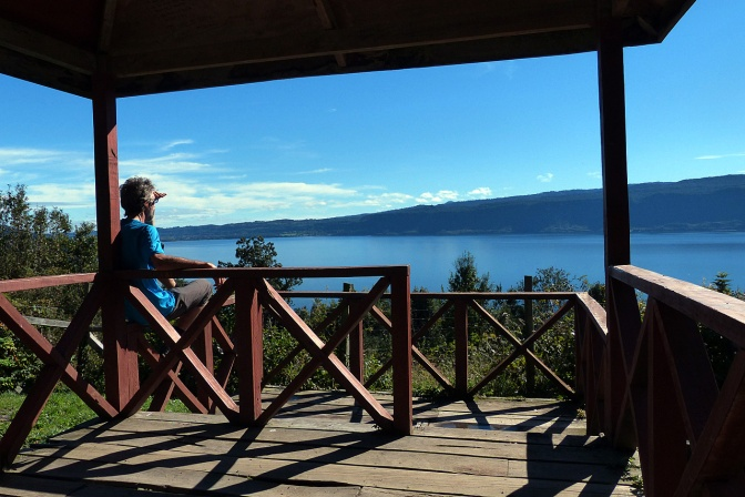 Taking a break overlooking Lago Puyehue.