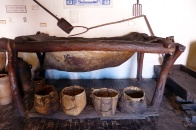 Buckets and a large tub made from cow hides at the wine museum.
