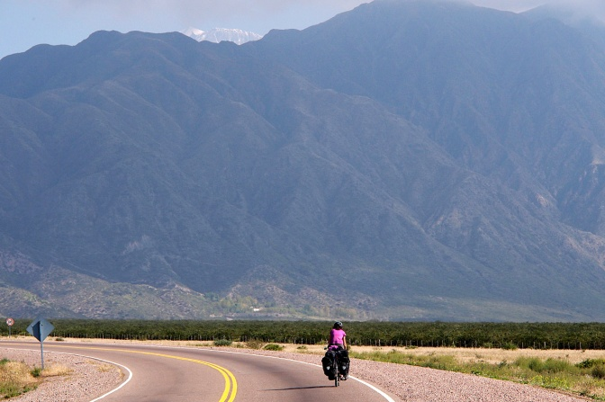 Riding out of Mendoza on Ruta 7.
