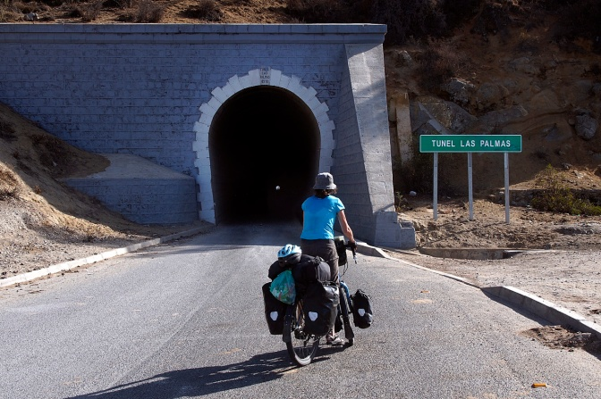 The Las Palmas tunnel, about 1.5 km long, built in 1910. The first of five tunnels on our route north to Ovalle.