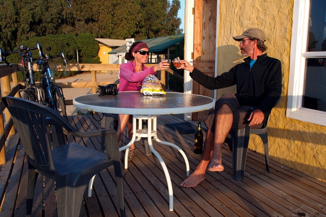 Cheers! Chilling on the deck of our beachfront cabañ–a in Guanaqueros.