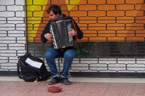Playing for tips in downtown La Serena.