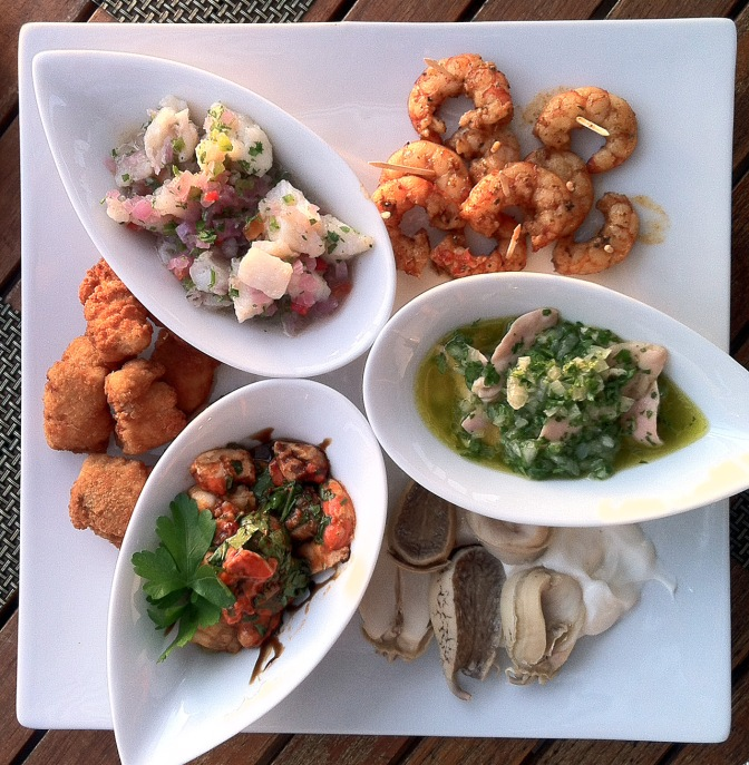 Ceviche and various other lovely bits of seafood: scallops, abalone. shrimp.