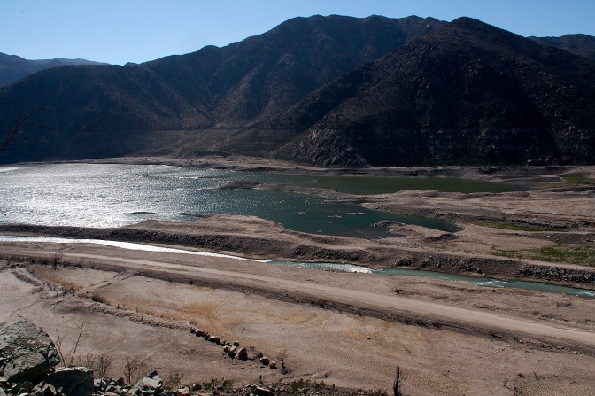 A nearly empty Puclaro Reservoir behind the dam on Rio Elqui.
