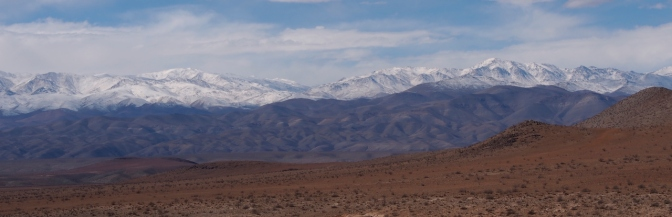 Fresh snow in the Andes to the east.