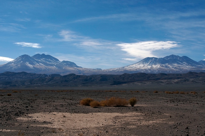 Volcanos along the road north to San Pedro De Atacama.