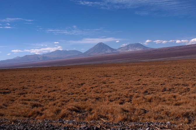Volcan Licancabur looming on the horizon.