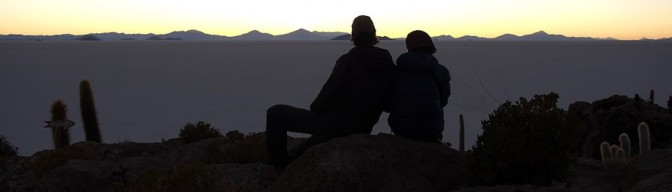 Enjoying the sunset over the Salar D'Uyuni, Bolviia.