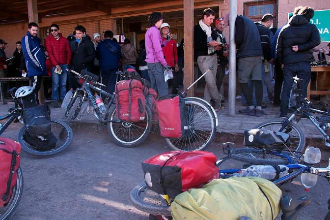 Waiting in line at the Chilean border to get stamped out.