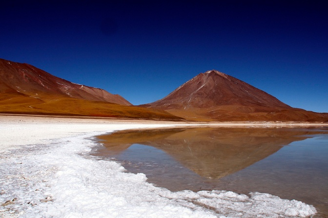 Licancabur reflected in Laguna Verde.