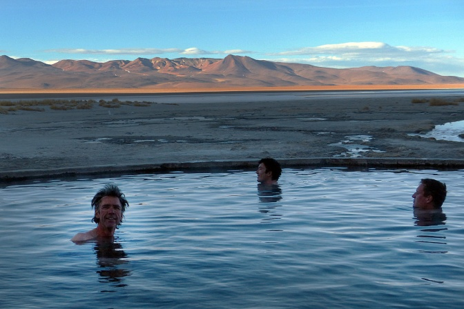 The hot pool at Laguna Chalviri: Paul, Nicholas and Cyril.
