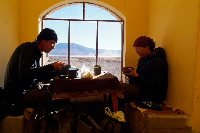 Having breakfast in the sun at the refugio south of Laguna Colorada.