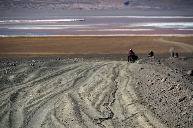 Pushing through the sand above Laguna Colorada.