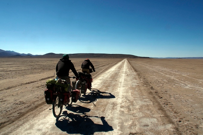 Cruising into San Juan de Rosario at 25 km/hr on the salar.