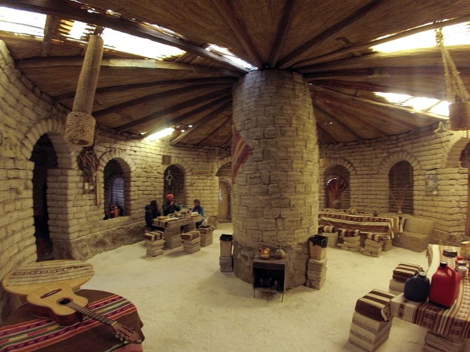 Our circular salt hostel at San Juan de Rosario.