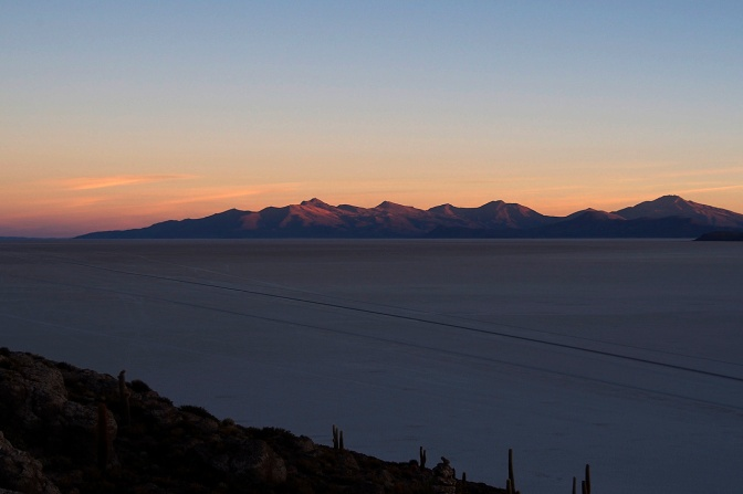 Salar de Uyuni sunset from Isla Incahuasi.