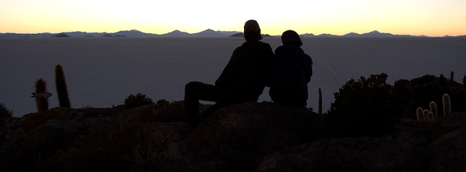 Watching the sunset over Salar de Uyuni from the top of Isla Incahuasi.