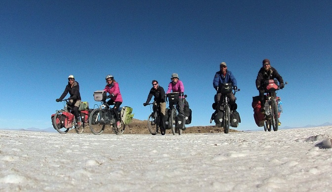 From left: Nicholas, Alice, Cyril, Jan, Paul and Marcin, riding away from Isla Incahuasi on the Salar de Uyuni.